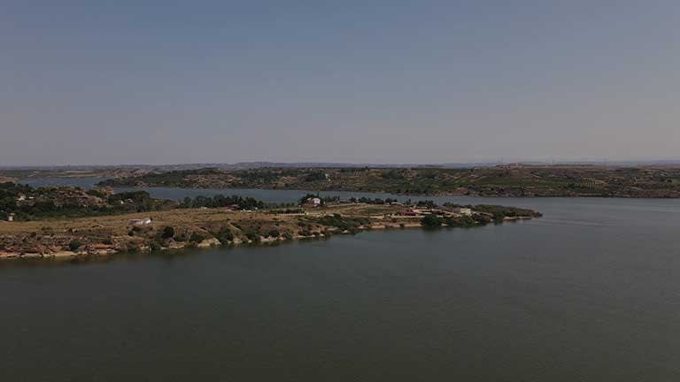 Aerial view of the river ebro